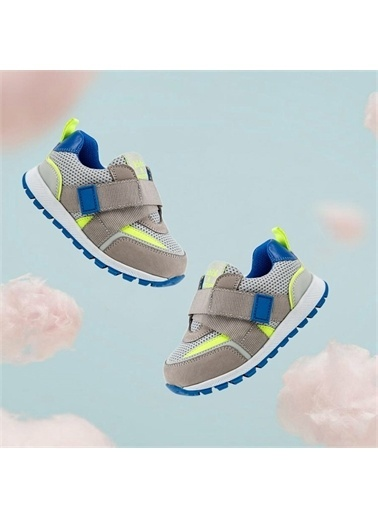 Kids A More Jasper Tek Cırtlı Lastikli Deri Ve Air File Detaylı Erkek Çocuk Sneaker Gri-Saks Gri